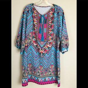 Vintage Bohemian Dress Turquoise Women's Size XL